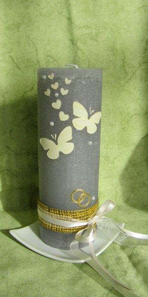 Hochzeitskerze-Schmetterlinge-Vintage