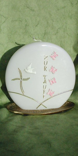 Taufkerze Scheibe-Schmetterling