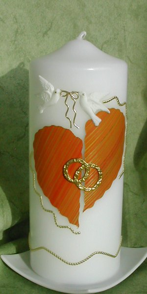 Hochzeitskerze Welliges Herz