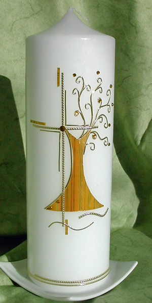 Taufkerze Lebensbaum elegant