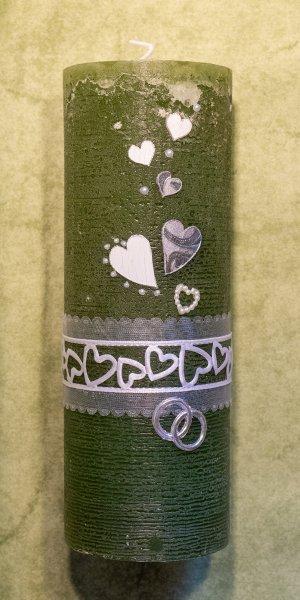 Hochzeitskerze-Herzband-Vintage
