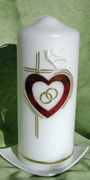 Hochzeitskerze Herz-Kreuz