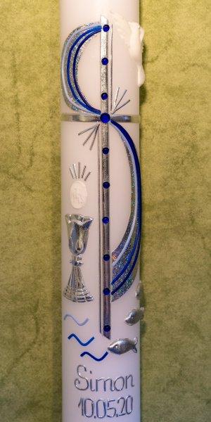 Kommunionkerze-Glaenzend-Blau-Silber