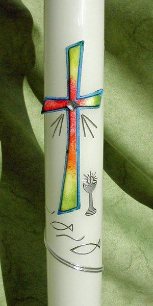 Kommunionkerze Regenbogenkreuz
