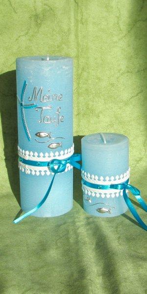 Türkis-Silber 1 auf Hellblau